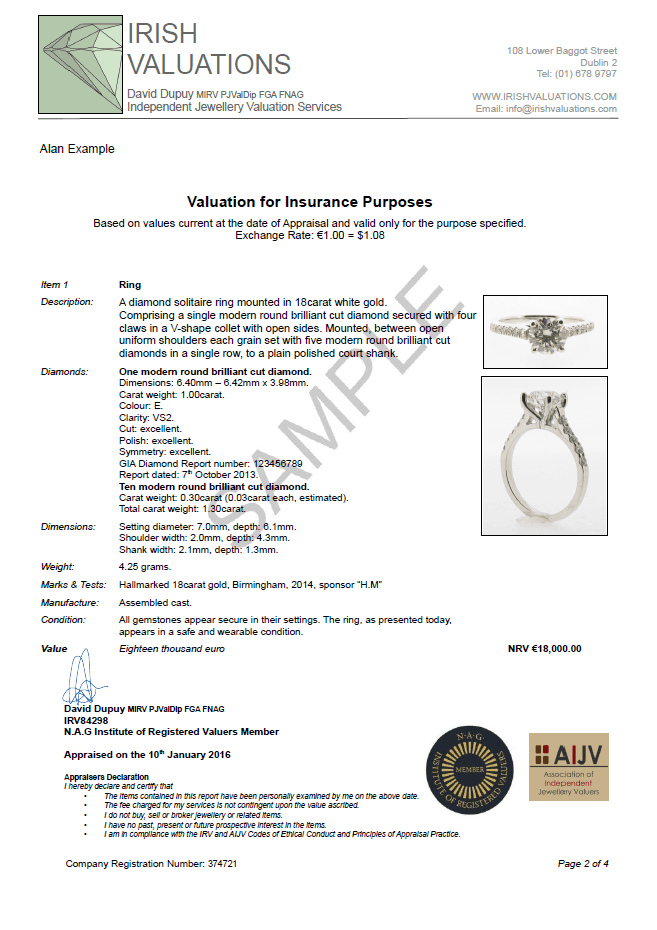 jewellery insurance valuation template  Example of a Jewellery Valuation